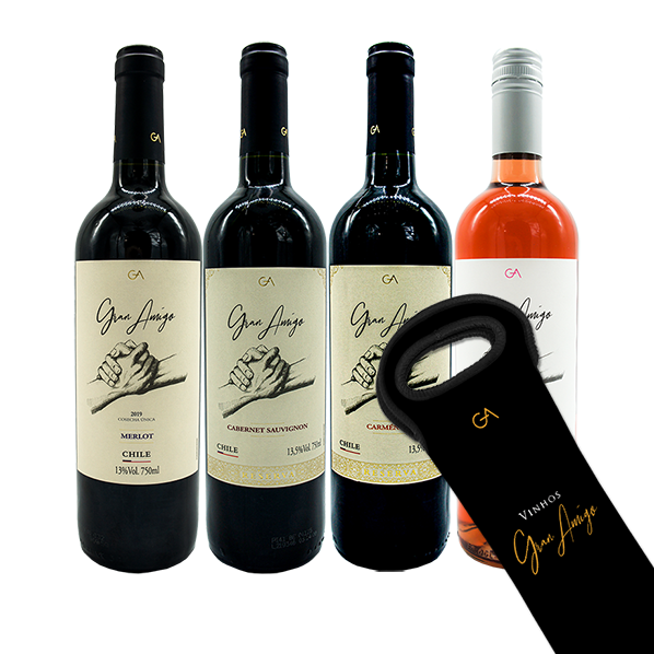 Kit 4 Vinhos Gran Amigo - Ganhe Bag Cooler Gran Amigo