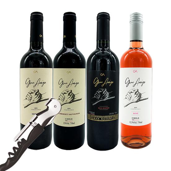 Kit 4 Vinhos Gran Amigo - Ganhe Saca Rolhas Gran Amigo