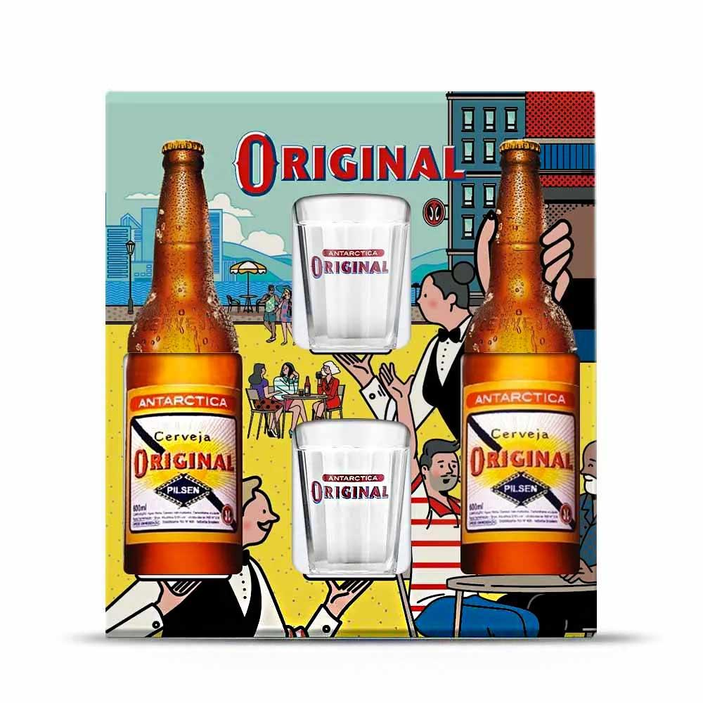 Cervejas Antartica Original + 2 copos