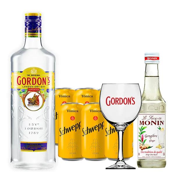 Kit Dia dos Pais - Gin Gordon's 750ml, Mini Monin Gengibre 250ml, Taça Acrílico Gordon's com 6un Tônica Schweppes 350ml