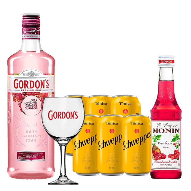 Kit Dia dos Pais - Gin Gordon's Pink 750ml, Mini Monin Framboesa 250ml, Taça Acrílico Gordon's com 6un Tônica Schweppes