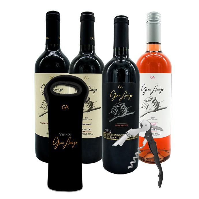 Kit Dia dos Pais - Gran Amigo Cabernet Sauvignon, Merlot, Rosé, Gran Reserva Red Blend, Bag Gran Amigo e Abridor Gran Amigo
