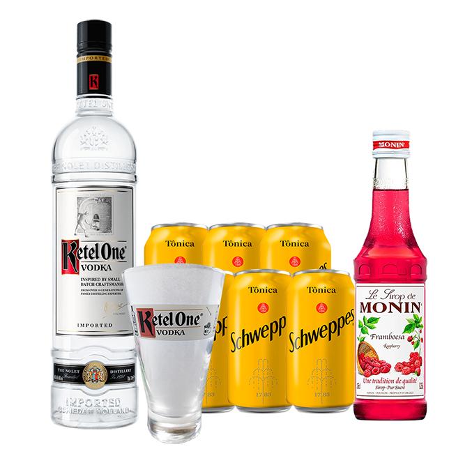 Kit Dia dos Pais - Vodka Ketel One 1L, Monin Mini Framboesa 250ml, Copo Copo Ketel One e 6un Schweppes Tônica 350ml