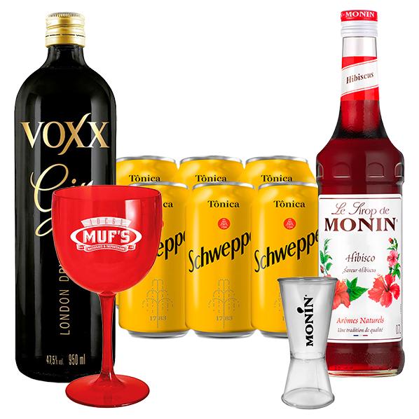 Kit Gin Tônica Hibisco - Gin Voxx 950ml, Monin Hibisco 700ml, 6un de Tônica Schweppes 350ml, Dosador Monin e Taça Acrílico Muf's