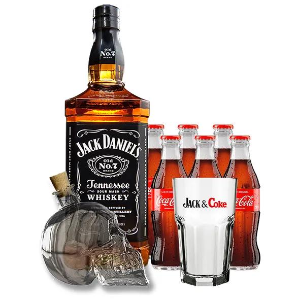 Kit Jack Daniel's Old Nº7 com 6Un Coca Cola 250ml, Copo Jack & Coke e Garrafa Caveira