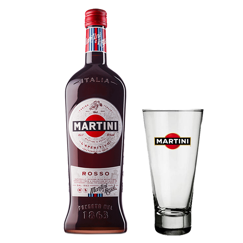 Martini Rosso 750ml com Copo Personalizado