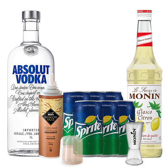Moscow Mule In House - Absolut 1L, Monin Limão Siciliano 700ml, Espuma de Gengibre Easy Drink 200g, Sprite Pack 6un e Dosador Monin