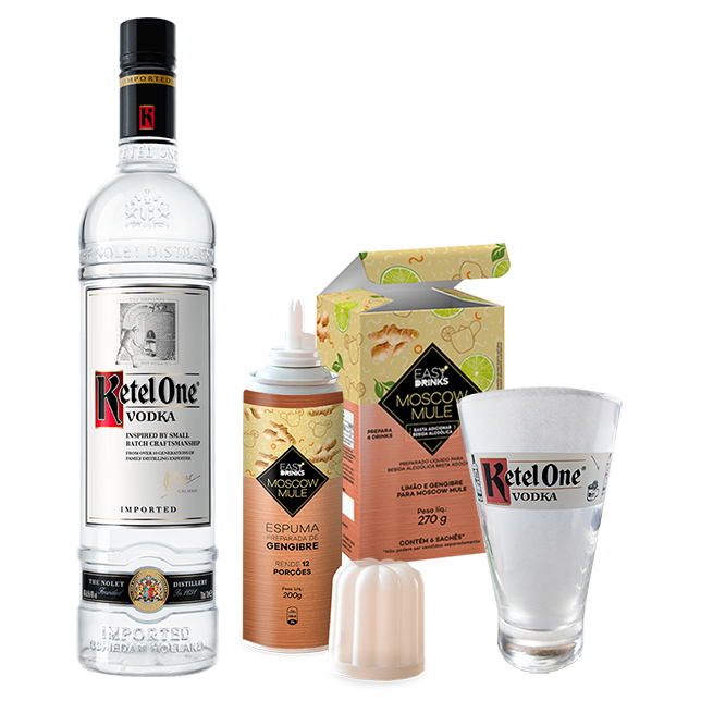 Moscow Mule Ketel One In House - Ketel One 1L, Espuma de Gengibre Easy Drink 200g, Moscow Mule Easy Drink 270g e Copo Oficial Ketel one