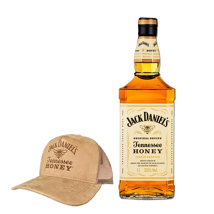 Whisky Jack Daniel's Honey 1L com Boné Bege Exclusivo
