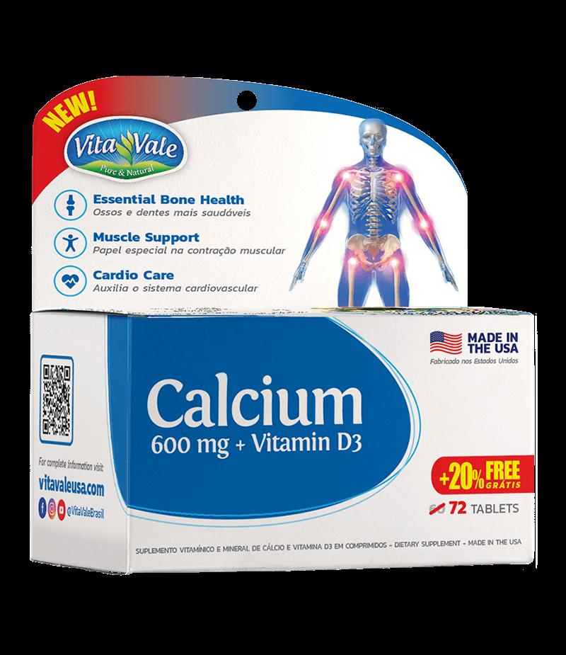 Cálcio 600mg + Vitamina D3 - 72 cápsulas