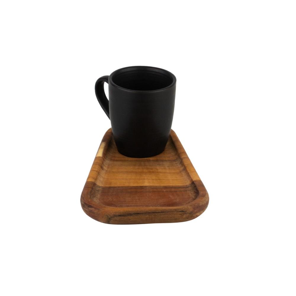 02 xícaras de café (93mL) com pires grande em madeira Teca (17cm) - Woodart