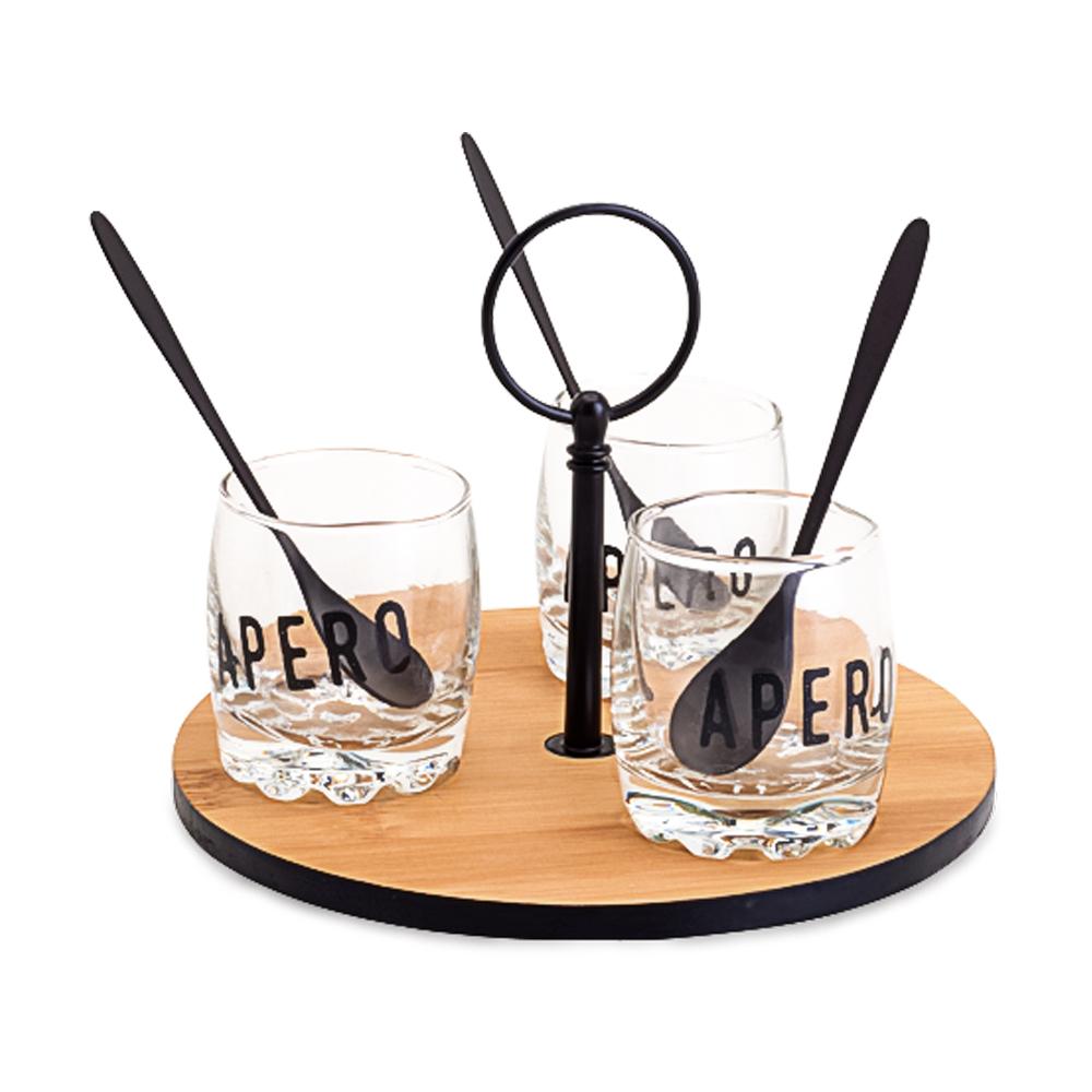 03 Molheiras de vidro na Bandeja de Bambu com colheres em Inox preta (16cm)