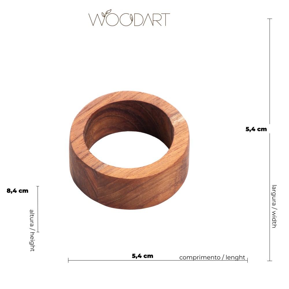 04 Anéis para Guardanapo em Madeira Teca - Woodart