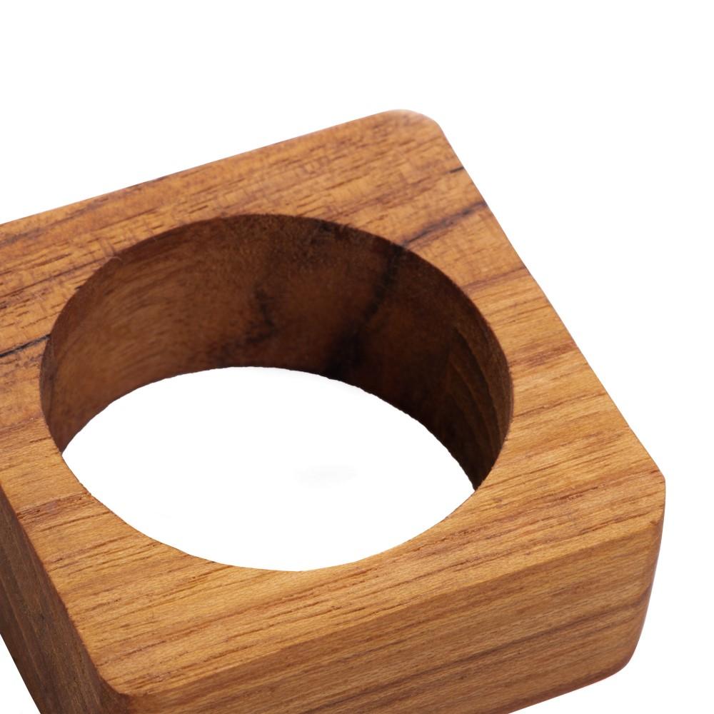 04 Anéis Quadrados para Guardanapo em Madeira Teca - Woodart