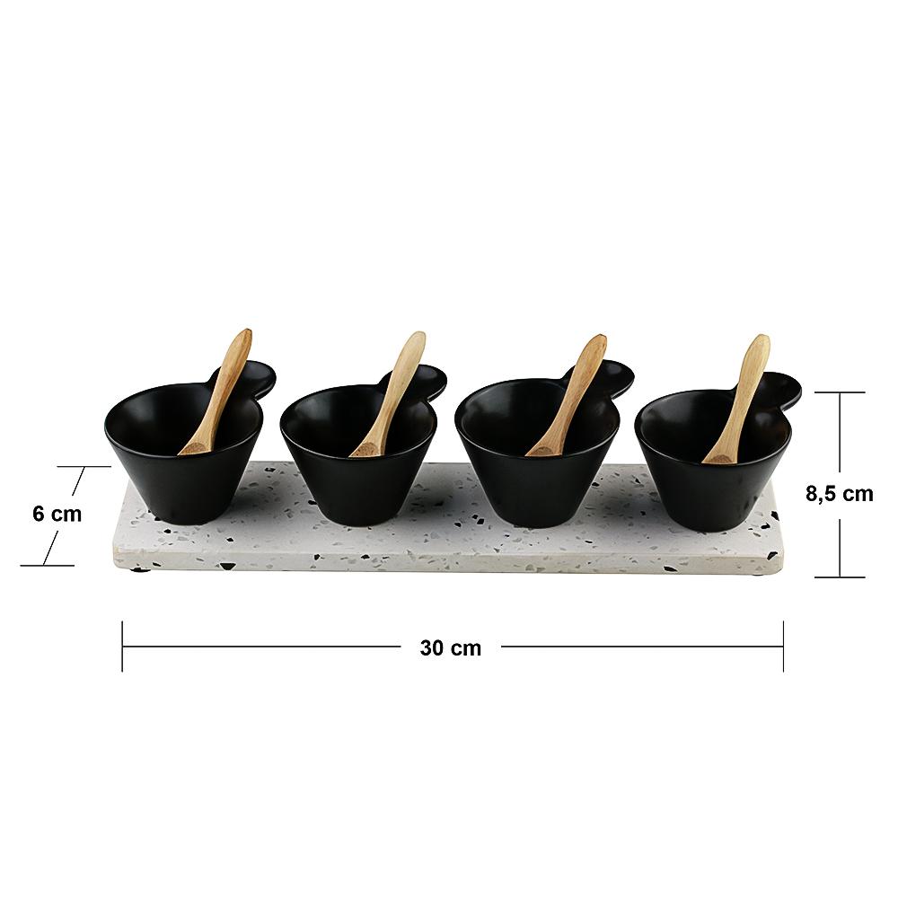 04 Molheiras de Cerâmica na Banbeja de Mármore com colheres de Bambu (30cm)