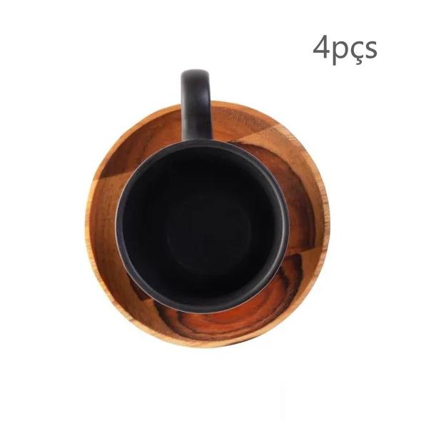04 xícaras de café (93mL) com pires madeira Teca (9cm) - Woodart
