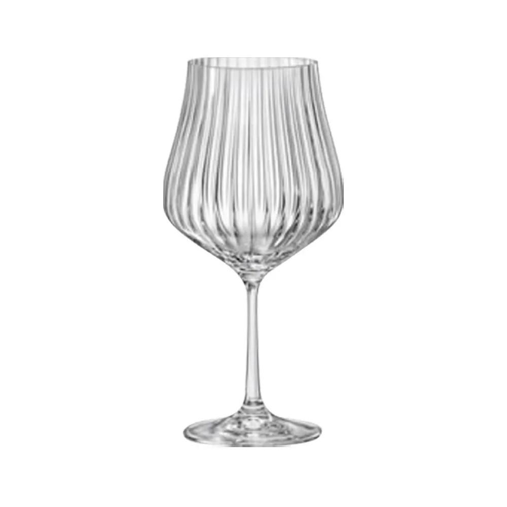 06 Taças Tulipa Optic para Bourgogne em Cristal Titanium 600mL - Bohemia