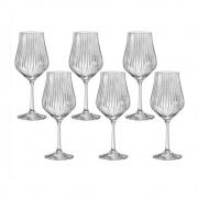 06 Taças Tulipa Optic para Água em Cristal Titanium 450mL - Bohemia