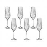 06 Taças Tulipa Optic para Espumante em Cristal Titanium 170mL - Bohemia