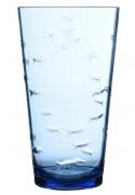 Conjunto de 6 Copos de Acrilico Peixe 3D Azul 560ml