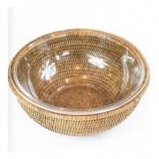 Bowl de vidro (20cm) com Suporte em Rattan MAYA