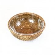 Bowl de Vidro Refratario (26,5Cm) Com Suporte Em Rattan Maya