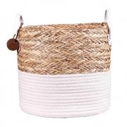 Cesto de Corda Seagrass com Algodão 27xh23cm