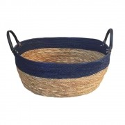 Cesto Seagrass com Borda Azul e Alça de Couro G