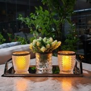 Conjunto de 5 Castiçais de  Vidro Marrocan Transparente