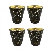 Conj. 04 Porta-velas em Ferro com Arabesco 9,5cm - Nakine