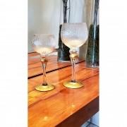 Conjunto 2 Castiçais Vidro Bola Dourada 13x30cm