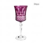 Conjunto 4 Taças Para Vinho Cristal Lapidado Grace 250ml