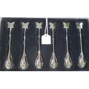 Conjunto 6 Colheres P/Cafe De Zamac Silver Plated Butterfly 11cm