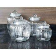 Conjunto de 4 Potes de Vidro | 580ml | 1,4l  |1,9l  | 2,4l