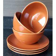 Conjunto 4 Bowls com 4 Pratos de Sobremesa Esmalte  Corana