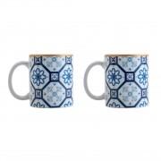 Conjuntos de 2 Canecas Redondas De Porcelana Braga Azul E Branca 330ml
