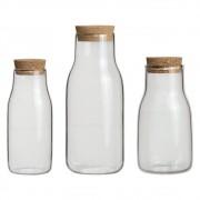 Conjunto de 3 Jarras/Potes com Tampa Bottle