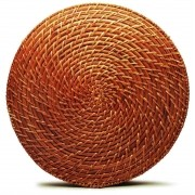 Jogo Americano Redondo de Rattan (06 peças) - Tyft Organic 34cm
