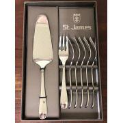 Jogo para Bolo em Prata com 1 Espatula e 6 garfos - Serenity St James