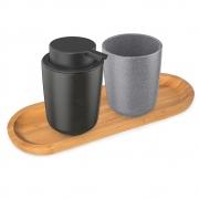 Kit para Banheiro Osaka em Cerâmica - 02 pçs com bandeja
