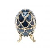 Porta Joias Zamac Oval Faberge Azul 6x6x9cm