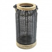 Porta Velas ee Metal com Alça de Juta 36x16,5cm