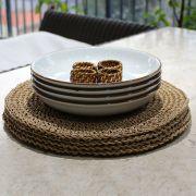 Jogo 4 Pratos para Pasta com anel de Rattan e Jogo Americano  Fendi