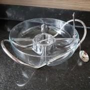 Saladeira com 5 divisões com concha e suporte de Prata para Molho Napoli 28cm