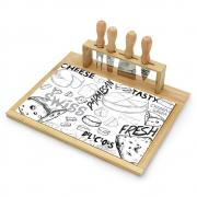 Tábua para Queijo Design em Bambu e Ceramica (5pçs) - 33x26,5cm