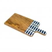 Tabua para Queijos De Madeira Blue 35 X 15 X 1cm - BonGourmet