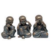Trio Buda Estatua Decorativa 12x11x17