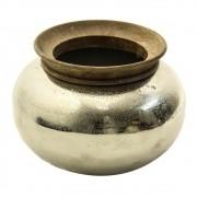 Vaso de Metal com Borda em Madeira 15x19cm