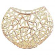 Vaso Decorativo Aluminio Prateado Vazado 31x37x10