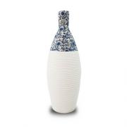 Vaso Decorativo Nakine Ceramica Branco Floral 37X15X15